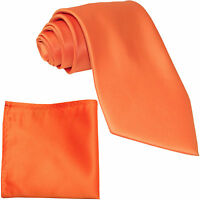 New Polyester Men's Neck Tie & hankie solid formal wedding prom uniform orange