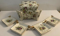 Art Deco Cigarette Box And Ashtrays Japan Porcelain Floral Hand Painted Antique
