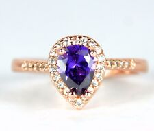 Women's 18 Carat Rose Gold plated Purple crystal Ring Jewellery UK Size S