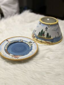 Shoreline Candle Co. Large Jar Topper Shade With Plate Lighthouse Boats Seagull