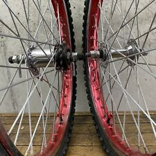"Old School BMX 20"" Wheel Set RED Suntour Coaster Brake + Freewheel OG 80s"