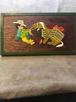 Unique 3-D Wood Wall Art Hanging Decor Mexican Man & Burro