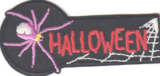 """""""HALLOWEEN"""" PATCH  w/SPIDER & WEB-Iron On Applique/Autumn,Halloween, Scary,Ghost"""