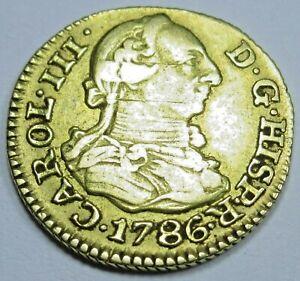 Authentic 1786 Spanish Gold 1/2 Escudo Old Antique Pirate Doubloon Treasure Coin