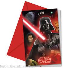 STAR Wars ragazzi festa di compleanno invita BUSTE Vader & IMPERATORE inviti X6