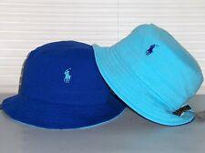 POLO RALPH LAUREN Mesh Bucket Hat, REVERSIBLE Cap, Pony, Royal Blue, Aqua, S/M