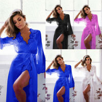Sexy Women Long Dressing Lace Gown Ladies Bath Robe Babydoll Lingerie Nightdress