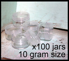 100 x 10g CLEAR LIP BALM JARS containers pots - brand new plastic screw top lid