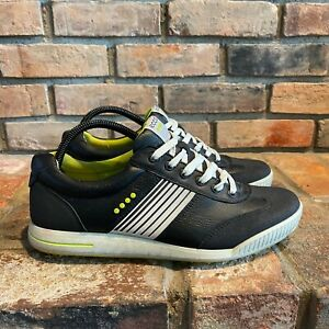 Ecco Mens Round Toe Lace Up Low Top Black White Sneaker Shoes Size EUR 42 US 9