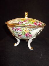 """Vintage Lefton Hand Painted Footed Covered Candy Dish ,""""Cosmos"""", #1084"""
