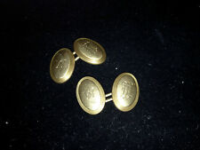 """14K Cufflinks engraved """"W"""" in two different font styles"""