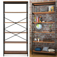 Metal Bookcase 5-Tier Storage Bookshelf Display Shelving Rack Wood Furniture New
