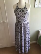 BNWT Asos blue white floral halter maxi long sundress dress frill 12 open back