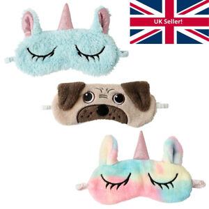 Unicorn Pug 3D Eye Sleep Mask Soft Plush Fleece Novelty Travel Womens Teen Girls
