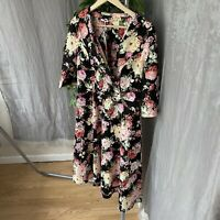 *BNWT* JOE BROWNS Black Multi Floral SIZE 14 UK Wrap Front Jacket Dress