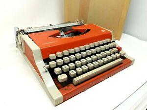 Vintage Orange Olympia International Olympette 3 Typewriter with Cover