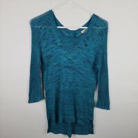 Lucky Brand Womens Top Size XS Blue Knit Top 3/4 SLeeve High Low Button Back