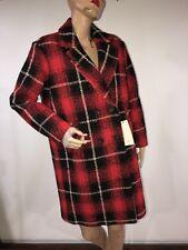 56ba869c NWT ZARA Red Black Plaid Double Breasted Knee Length Coat Peacoat Women's XS