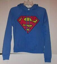 Supergirl Superman logo Hoodie Sweatshirt Size Medium Cotton Blend Blue