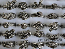 NEW Wholesale Lots 5Pcs Big Snake skull carved biker men silver P rings Jewelry