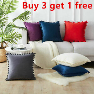Large Pom-poms Velvet Cushion Covers Pillow Cases Home Sofa Decor 40/45/50cm