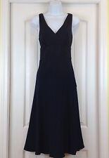 J.Crew Navy 100% Silk Crossover Bodice V Neck EmpireWaist Full Skirt Sz 10 Dress