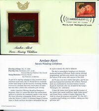 GOLD FOIL 22k FDC Amber Alert Saves Missing Children USA Stamp + Text Card