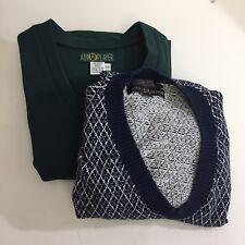 LOT 2 Mens Sweater Vests 2XL Blue Argyle Green V Neck Cotton Tommy Hilfiger Golf