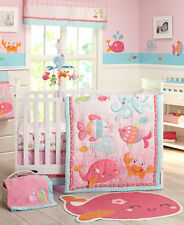 Carter's Sea Collection 4 Piece Crib Bedding Set, Pink/Blue/Turquoise - Whale