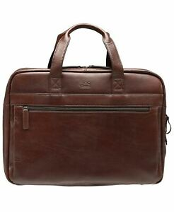 $580 New Mancini Men's Double Compartment Briefcase Leather Laptop Bag with RFID