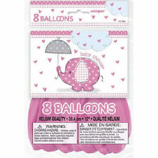 "Umbrella Elephant Pink Girl Baby Shower Party Supplies 8 pk 12"" Balloons Printed"