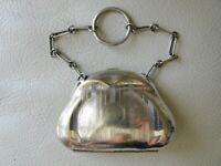 Antique Art Nouveau Pin Stripe EPNS Silver Chatelaine French Doll Coin Purse