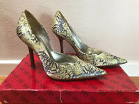 Guess By Marciano Women's Shoes Pumps Yellow Grey Multicolor Satin 5