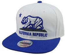 NEW CALIFORNIA REPUBLIC 3D EMBROIDERED FLAT BILL SNAPBACK CAP HAT WHITE/ROYAL