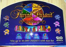 Mikohn's TRIVIAL PURSUIT Game Glass for Sigma Slant Top Slot Machine COLLECTABLE