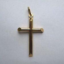 9ct Gold Medium Plain Tubular Cross Pendant 1.3g