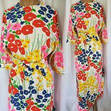 1960's 1970's Vintage Retro Groovy Mod Floral Hawaiian Maxi Dress Medium