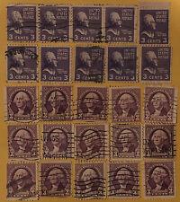 3 Cent US Stamps Lot Of 25 Purple George Washinton Thomas Jefferson RARE?? 1930s