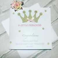 A little Princess new born baby girl card- handmade and personalised