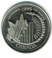 1999 Canadian Brilliant Uncirculated Commemorative December 25 Cent Coin!
