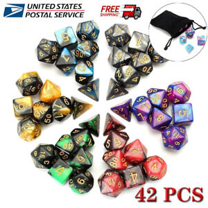 42pcs 7-die Polyhedral Dice For Dungeons&Dragons DND RPG D20 D12 D10 D8 Game+Bag