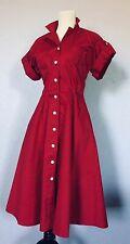 Swing Dress 1940's Style Bettie Page Las Vegas Lipstick Red Size M Mid Calf