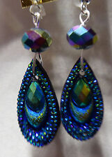 UNIQUE Tear Drop SHAPED Peacock Color EARRINGS Bead BLING Handcrafted Nora Winn