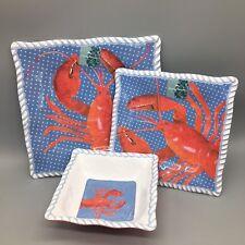 18pc Tommy Bahama Melamine Lobster Dinner Salad Plate Bowl Set 6 Red Blue Rope