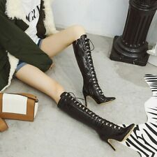 Women High Heels Patent Leather Rivet Knee High Kinght Boots Pointy Toe Zip Shoe