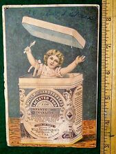 1870s-80s Wells Richardson & Cos Lactated Food Child in Large Can Trade Card F9