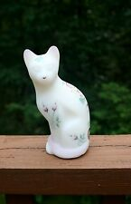 FENTON Art Glass Stylized CAT Figurine White Satin Hand Painted w/ 95th Label