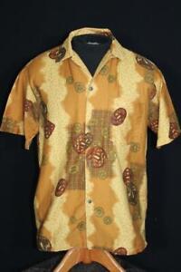 RARE 1960'S TROPICANA GOLDEN COTTON PRINT HAWAIIAN SHIRT SIZE MEDIUM