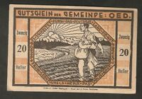 Austria Gutschein d. Gemeinde OED 20 heller 1920 Austrian Notgeld