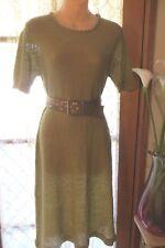 VINTAGE 70'S  ~ MARK SLADE ~ Olive Boucle Knit DRESS/Belt * Size 10 *